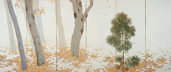菱田春草「落葉」(左隻) 1909